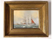 Small painting HSC portrait boat sailboat three-masted marine Uslet nineteenth