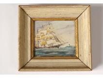 Small HSC miniature portrait boat sailboat three-master Navy Nordet nineteenth