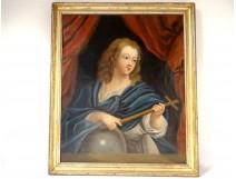 HST religious picture portrait Jesus Christ child cross globe eighteenth