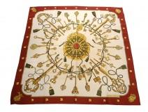 Square silk scarf Hermès Paris Saddle with floral lily cover Vintage 90cm