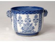 Earthenware pot Gien monochrome blue masks heads rams flowers nineteenth