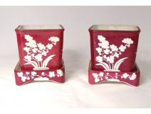 Pair planter planters earthenware Minton flowers cherry nineteenth