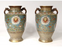 Pair of cloisonné enamelled bronze vases China garlands flowers signed nineteenth