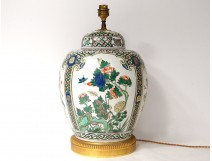 Lamp pot covered Chinese porcelain potiche flowers bronze birds nineteenth