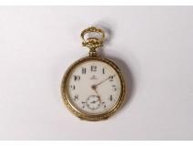 Omega gold pocket watch 18K solid gold flower garlands nineteenth century
