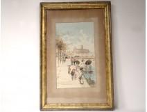 Watercolor view Toulouse quai banks Garonne Pont Neuf Convent Jacobins nineteenth