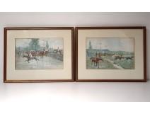 Watercolor pair Crafty Victor Geruzez horse racing jockey horses 19th