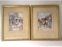Watercolor pair elegant characters carriages Belle Epoque Izard nineteenth