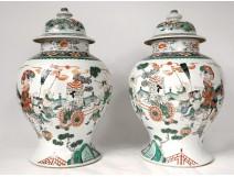 Pair Large China Enamel Pottery Green Family Kangxi XVIIIth Character