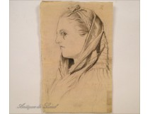 Charcoal portrait drawing young woman in scarf 19th