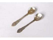 Pair of salt spoons solid silver Minerva goldsmith Noiret Art Nouveau XXth