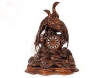 Large wooden carved pendulum Black Forest pheasant hen pheasant 75cm nineteenth