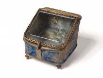 Watch case boxed brass gold beveled glass Napoleon III nineteenth
