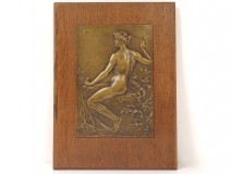Plaque bronze bas-relief Marey nude woman School Ceramics Sèvres 1929 XXth