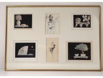Set 6 drawings Mario Avati still life fan flowers characters twentieth