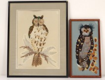 2 paintings collage feathers dried leaves owls Scarlet twentieth century