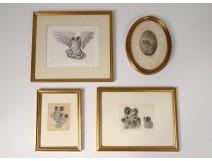 4 engravings prints Alain Jeanne Owls hulottes twentieth century