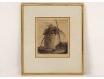 Engraving etching Arthur Mayeur mill Bouvigny Boyeffles twentieth century