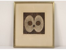 Original lithograph engraving Jean-Pierre Orinel tawny owl twentieth