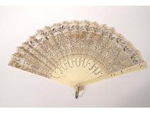 Fan embroidery sequins garlands carved handle nineteenth century