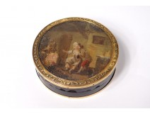 Round box solid gold 18 carats scales miniature gallant scene late eighteenth
