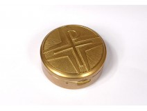 Hosts Custody Gold Metal Box Cross Chrism Church 20th Century