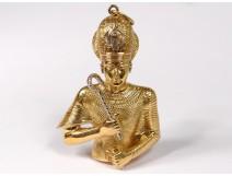 Pendant gold jewel 18 carat bust pharaoh Egyptian 30,2gr twentieth