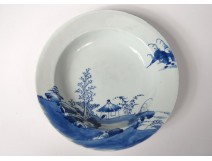 Porcelain hollow dish China India Company white blue flowers Kangxi eighteenth
