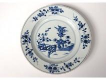 Porcelain hollow dish China India Company white blue flowers Kangxi eighteenth