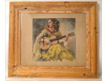 "Etching ""The Gypsy with a Guitar"" Van Caulaert 20th"