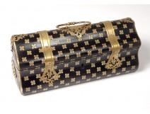 Glove box wood blackici marquetry brass Alphonse Giroux Paris nineteenth