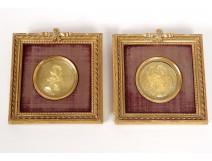 Pair miniature brass Henri IV Royal Family Louis XVIII Charles X Nineteenth