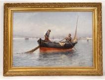 HST marine painting Louis Bonnot boat fishermen South Marseille Lina Bill 19th
