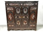 Cabin cabinet carved wood mother of pearl Indochina Vietnam characters boats 19th