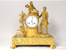 Pendulum gilded bronze shepherd dog goddess Flore hunting deer Restoration nineteenth