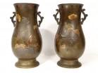 Pair of bronze vases Japan birds flowers katakiri bori shakudo Meiji nineteenth