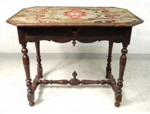 Louis XIII table walnut carved wood turned eighteenth century tapestry