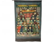 Great painting cloth 20 ancestors Chinese dignitaries mandarins China nineteenth