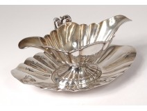 Sterling silver gravy boat Minerva goldsmith Veyrat Monogram 500gr XIXth century