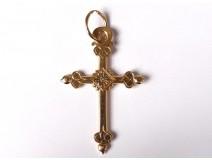 Cross Jeannette pendant solid gold 18 carats flowers 5,71gr jewel nineteenth