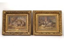 Pair HST paintings Ceramano Sheep sheep School Barbizon nineteenth century