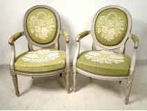 Pair Louis XVI cabriolet armchairs lacquered wood medallion stamp nineteenth