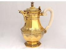Vermilion silver jar shell Minerva goldsmith Puiforcat 1090gr nineteenth