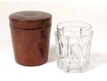 Tumbled glass goblet Le Creusot Baccarat leather case XIXth century