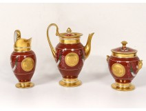 Coffee service 3PC porcelain Paris pouring gilding sugar nineteenth Empire