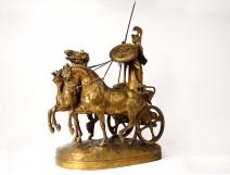 Large bronze sculpture E. Frémiet Char Minerve mythology Barbedienne 19th