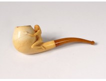 2 old pipes sea foam amber carved meerschaum late nineteenth century