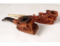 2 old pipes heather carved deer stag Monn Saint-Claude twentieth century