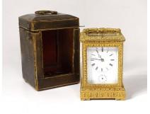 Pendulette officer bronze gilt bronze alarm clock ring request case XIX