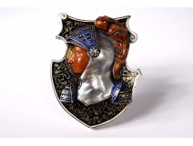 Clock Hermann Böhm Email Vienna silver jasper mother of pearl helmet Austria 19th